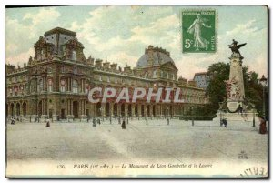 Old Postcard Paris I arr the Monument to Leon Gambetta and Louvre