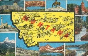 Linen Map Card of Montana MT 1948