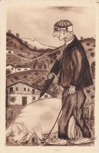 Types BASQUE (man & Pig) , Vieux Basque Allant au marche , 20-30s