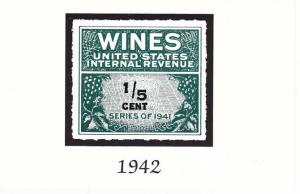 Wines US Internal Revenue Stamp pictured on Post Card