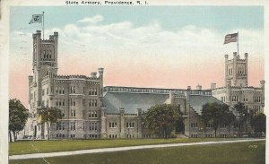 Postcard - RI - Rhode Island - State Armory Providence Posted 1922 Linen