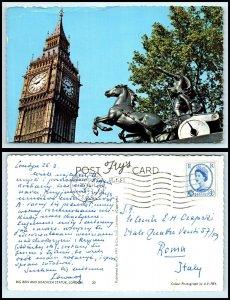 UK Postcard - London, Big Ben & Boadicea Statue M9