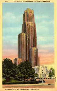 Pennsylvania Pittsburgh Cathedral Of Learning and Foster Memorial 1947 Curteich