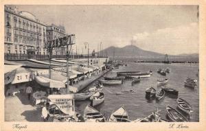 Naples Italy scenic birds eye view boats boardwalk antique pc Z19607