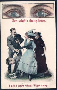 See What's Doing Here Lady in Control BIG EYES used c1915