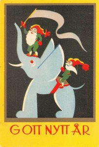 LP58  Elephant Elves Swedish New Year Postcard Vintage Small Size  4x3 inches