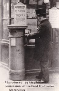 Manchester Post Pillar Box Real Photo Postcard