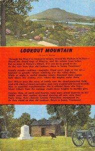 LOOKOUT MOUNTAIN Lon A. Warner Poem Tennessee c1930s Vintage Postcard