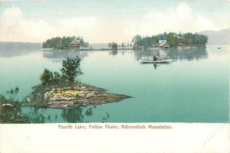 Fourth Lake Fulton Chain Adirondack Mountains, Houses, Man in Canoe UDB Postcard