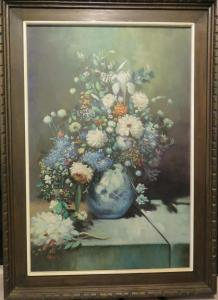 Beautiful Oil Painting by Artist V.G. Ramos of Flowers in Vase. The Art canva...