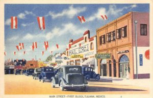 Main Street - First Block TIJUANA Sammy's Bar Mexico c1940s Vintage Postcard
