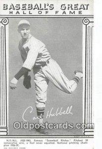 Baseball Postcard Base Ball Post Card Carl Hubbell Baseball's Great Hall...