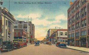 1940s 28th Street looking South Autos BILLINGS MONTANA Linen postcard 1667