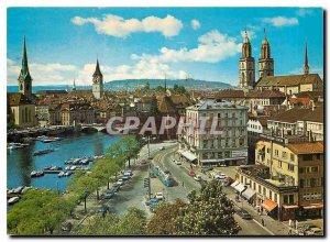 Postcard Modern Zuerich Blick auf Limmat und Grossmuenster Fraumuenster St.Peter