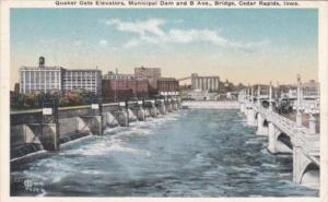 Iowa Cedar Rapids Quaker Oats Elevators Municipal Dam & B Avenue Bridge 1921