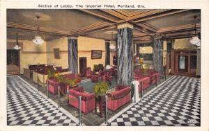 PORTLAND OREGON IMPERIAL HOTEL~SECTION OF LOBBY~ADVERTISING POSTCARD 1929