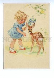 141916 Girl w/ DEER Lamb by HAUSEN vintage Colorful PC