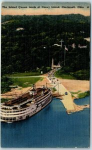 Cincinnati, Ohio Postcard CONEY ISLAND - Island Queen Riverboat at Landing Linen