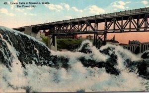 Washington Spokane Lower Falls At The Power City