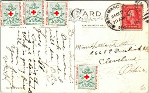 A Merry Christmas - Holly  - RED CROSS STAMP  Vintage - POSTCARD PC POSTED