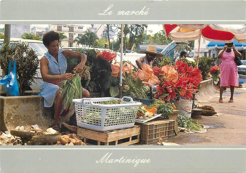 Martinique vegetables market flowers sellers