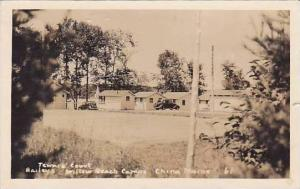 Maine China Baileys Willow Beach Camps Tennis Court 1939 Real Photo RPPC