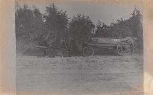 Real Photo Postcard~Farmer on Buckboard Wagon Seat~Black Horse Team~1912 RPPC