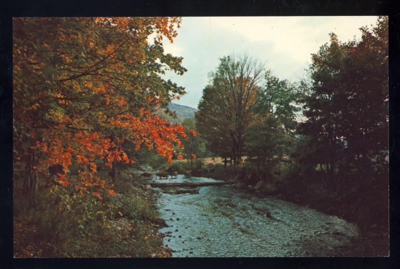 Grafton, Vermont/VT Postcard, Looking Upstream From Covered Bridge