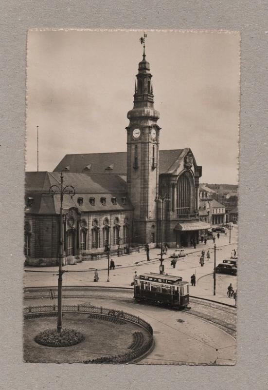 postcard 1940 years LUXEMBOURG  RAILWAY STATION tramcar tram tramway trolley z1