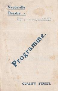 Quality Street Seymour Hicks Vaudeville 1902 Theatre Programme