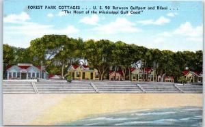 Biloxi, Mississippi Postcard GUEST PARK COTTAGES Route 90 Roadside Linen c1950s