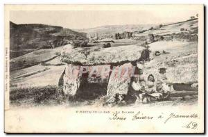 Old Postcard Megalith Dolmen Saint Nectaire down dolmen