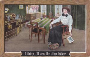 I think, I´ll drop the pther fellow, Woman reading a postcard in the kitchen...