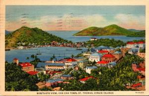 St Thomas Cha Cha Town Birds Eye View 1937 Curteich