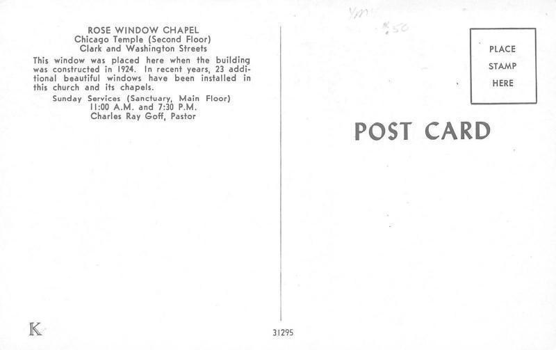 Chicago Illinois~Rose Window Chapel~1960 Postcard