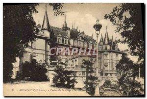 Old Postcard Arcachon Casino Beach