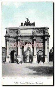 Old Postcard Paris Arc De Triomphe Carrousel du Louvre