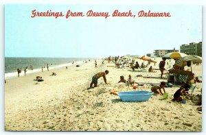 Postcard DE Dewey Beach Vintage Greetings Beach View D10