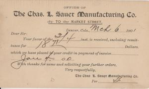 DENVER CO - CHARLES L SAUER MANUFACTURING CO 1902 / Receipt