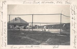D24/ Wellston Ohio Postcard RPPC c1910 Tennis Courts Tournament with Pomeroy