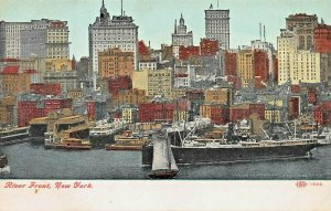 NEW YORK CITY~RIVER FRONT-SHIPS~1910s POSTCARD