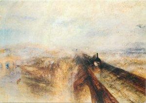 Art Postcard Rain, Steam and Speed railway train landscape painting J.M.W Turner