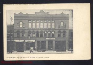 SPENCER IOWA J.G. BIRDSALL'S STORE VINTAGE ADVERTISING POSTCARD DOWNTOWN