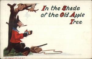 Fantasy - Bear Trees Hunter - Smoking a Cigar c1910 Postcard rpx