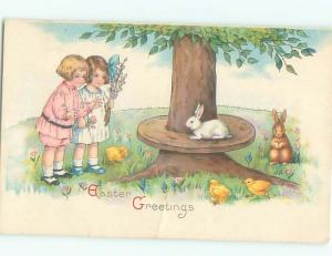 Pre-Linen Easter CUTE BUNNY RABBIT WATCHED BY CUTE GIRLS AB3501