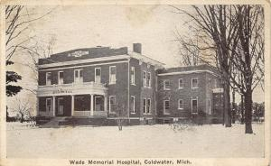 Coldwater Michigan~Wade Memorial Hospital in Snow~Bare Trees~c1915 Sepia PC