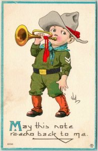 1914 Artist-Signed WALL Postcard Soldier Bugle May This Not Re-Echo Back to Me