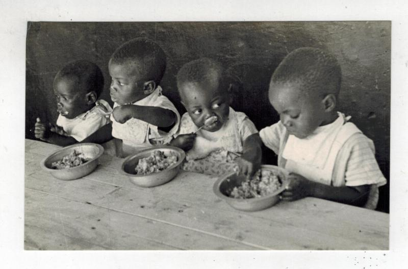 Mint RPPC Real Photo Postcard Umtali Rhodesia Native Children Eating Meal