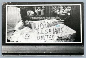 JOIN LESBIANS UNITED 1981 POSTCARD