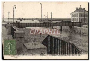 Old Postcard Saint Nazaire New Entrance to the port and the swing bridge